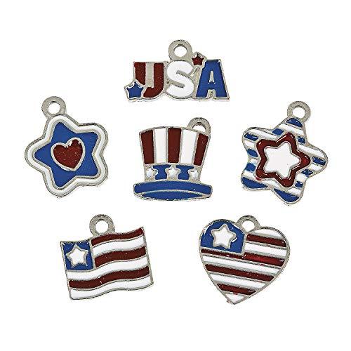 Patriotic Enamel Charms (36 Pieces)