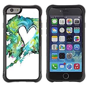Lady Case@ Painting Watercolor Teal Green Love Rugged Hybrid Armor Slim Protection Case Cover Shell For iPhone 6 Plus CASE Cover ,iphone 6 5.5 case,iPhone 6 Plus cover ,Cases for iPhone 6 Plus 5.5