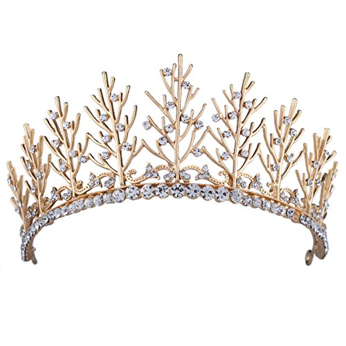 Stuffwholesale Crystal Women Girl Crown Tiaras Gold Tree Branch Prom Pageant Headwear with Bobby Pins (#2)