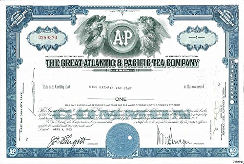 1968 SUPERB A & P (GREAT ATLANTIC & PACIFIC TEA CO) STOCK CERTIFICATE! FREE SHIPPING ON 2ND COLOR! 1 OF AMERICA