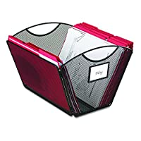 Safco Products Onyx Mesh Letter-Size Desktop File 2162BL, Acabado de pintura en polvo negra, Construcción de malla de acero duradero, Plegable para almacenamiento compacto, Manijas integradas