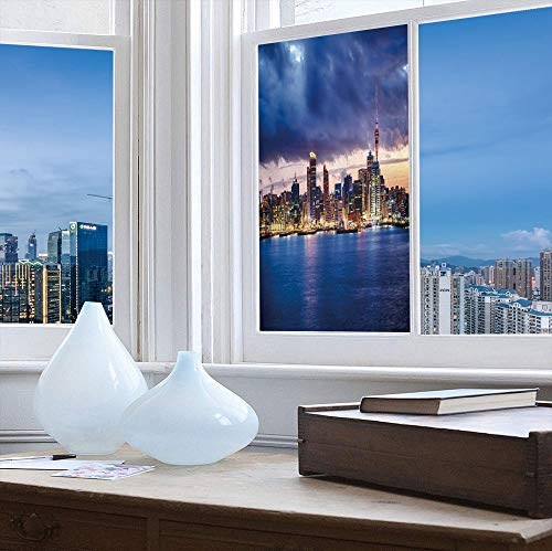 YOLIYANA Frosted Window Film Stained Glass Window Film,City,Work Well in The Bathroom,Auckland The Biggest City in New Zealand Waterfront,24''x48''
