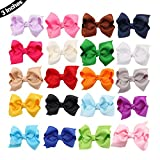 20 PCS Baby Girl Boutique Grosgrain Ribbon Hair Bows Alligator Clips For Teens Kids Toddlers Children