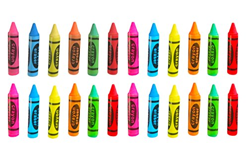 Hobby Monsters Crayon Shaped Erasers - 24 Pack - Great Toy / Art Supply for Party Favors, Teacher Incentives, Art Projects