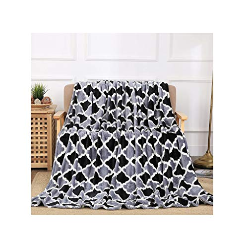 All American Collection New Super Soft Printed Throw Blanket (King Size, Black/Grey Trellis) - Fleece Collection Throw Blanket