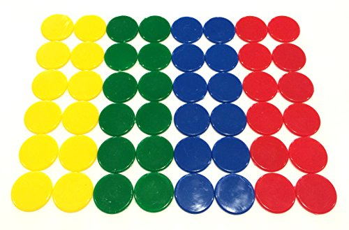 Plastic Counters: Blue, Red, Yellow, and Green Color Gaming Tokens (Hard Colored Plastic Coins, Markers and Discs for Bingo Chips, Tiddly Winks, Checkers, and Other Board Game Playing Pieces) (Plastic Token)