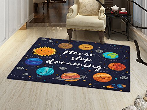 smallbeefly Quote Door Mats for inside Outer Space Planets and Star Cluster Solar System Moon and Comets Sun Cosmos Illustration Bath Mat for tub Bathroom Mat Multi by smallbeefly