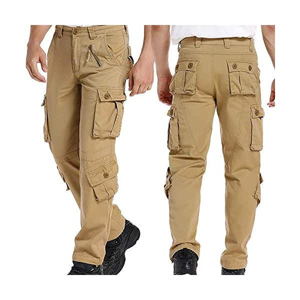 LANBAOSI Hommes durables Poches Multi/Pantalons Camo Cargo Solides, Noir, Taille Fabricant 34