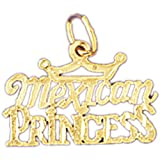 14K Yellow Gold Mexican Princess Pendant Necklace - 15 mm