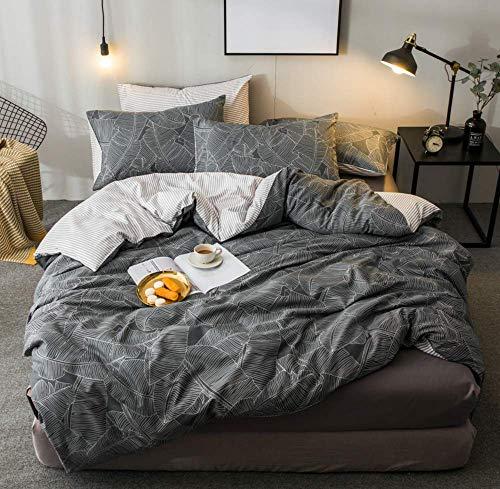 VM VOUGEMARKET 100% Cotton Leaves Duvet Cover Set Queen, 3 Pieces White Gray Bedding Set,Reversible Striped Duvet Cover with Zipper Closure-Queen,Gray ()