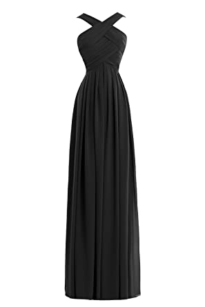66b8c287e252 Queenmore Women's Chiffon Floor Length Ruched Maxi Wedding Bridesmaid Dress  US2 Black