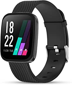 GEBER Smart Watch for Android Phones, IP67 Waterproof Fitness Tracker with All-Day Heart Rate Monitor Sleep Tracker, Smartwatch Compatible with iPhone iOS Samsung Phone for Men Women - Black
