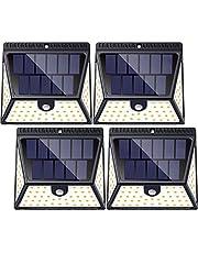 Luposwiten 82LED Focos Solar Exterior,1640LM Luz Solares, 270 °Gran Angular Lámparas Solares IP65 Impermeable para Jardín, Patio, Garaje,Terraza,Caminos,Escalera Luces Solares Exterior (4 Piezas)
