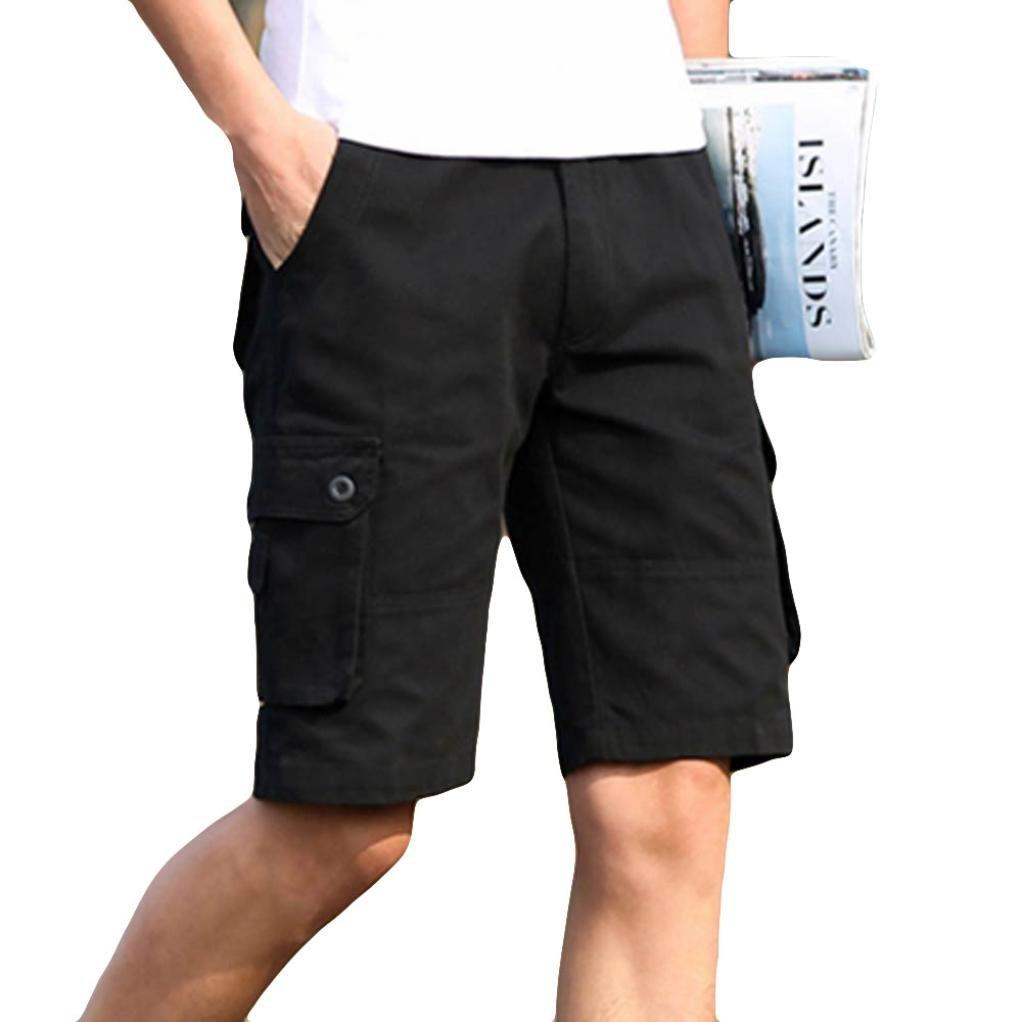 Leedford Men Trousers, Hot Sale~ Mens Casual Pocket Beach Work Casual Short Trouser Shorts Pants (40, Black)