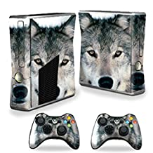 Mightyskins Protective Vinyl Skin Decal Cover for Microsoft Xbox 360 S Slim + 2 Controller skins wrap sticker skins Wolf