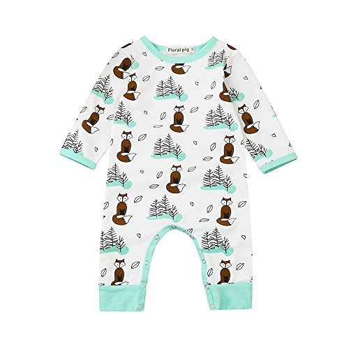 [Birdfly Newborns Woods and Fox Patterns Romper Onesies Long Sleeves Pajamas Cute Animal Prints Bodysuit Infants Toddlers Fall Winter Clothes Outfits for Baby Girls Boys (3M, White)] (Hippie Outfit Ideas)