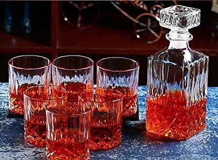 Juego de 7 decantador de whisky de estilo europeo y cristal, sin plomo, decantador sofisticado con bonito tapón y 6 preciosas copas de cóctel empaquetadas en caja de regalo B