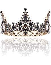 Barode Baroque Rhinestones Black Bride Wedding Crowns and Tiaras Shining Dainty Charm Prom Queen Crowns Bridal Hair Accessories for Women