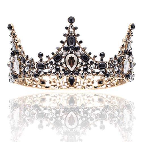 Barode Baroque Rhinestones Black Bride Wedding Crowns and