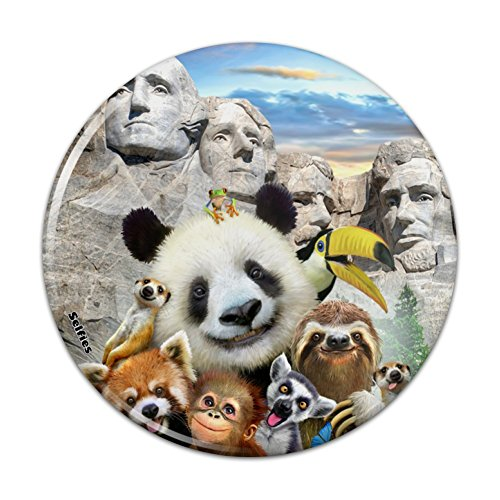 Mt Rushmore Pin - Mount Mt. Rushmore National Memorial South Dakota Panda Sloth Pinback Button Pin Badge - 1
