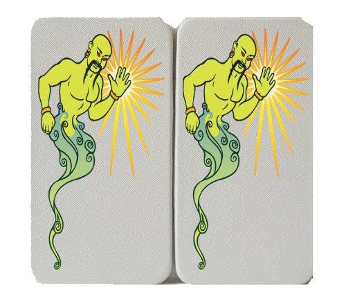 Lamp Purse Genie (Green Magic Genie From Lamp Waving - White Taiga Hinge Wallet)