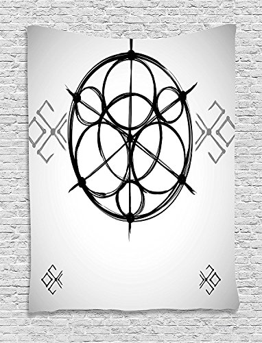 Sacred Geometrty Decor Tapestry, Sketchy Geometric Plan with Swirled Spiral Origins Cosmos Universe Decor, Wall Hanging for Bedroom Living Room Dorm, 60 W x 80 L Inches, Multi