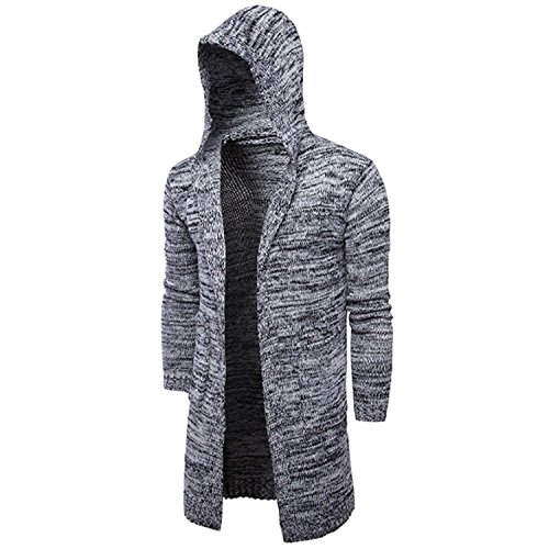 Coat Long Cardigan Hoodie Hooded Knitting Jacket Outwear Sweater Deylaying Slim Grey Casual Men UxW6qnpwX
