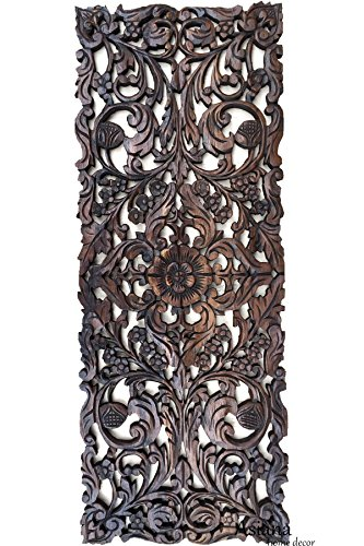 - Large Carved Wood Floral Wall Panel. Tropical Asian Home Decor in Dark Brown Finish, Size 35.5