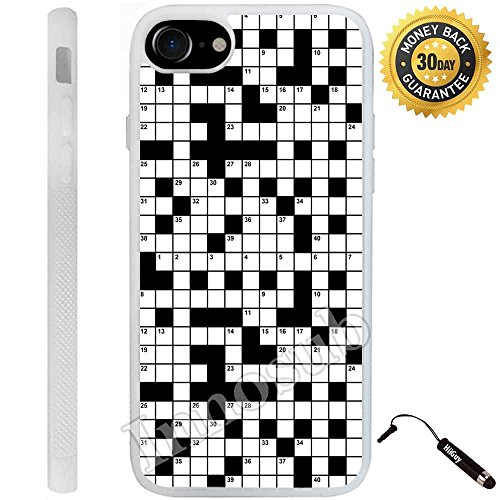 (Crossword Puzzle Pattern) Edge-to-Edge Rubber White Cover with Shock and Scratch Protection | Lightweight, Ultra-Slim | Includes Stylus Pen by Innosub ()