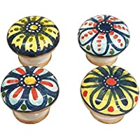 CERAMICHE D'ARTE PARRINI - Italian Ceramic Pottery Set 4 Knobs for Cabinets Hand Painted Made in ITALY Tuscan