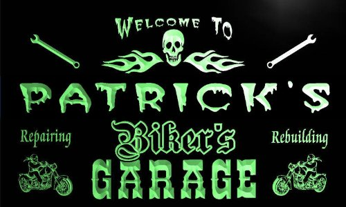 Qu1465 G Patricks Bikers Garage Motorcycle Repair Beer Neon Bar Sign