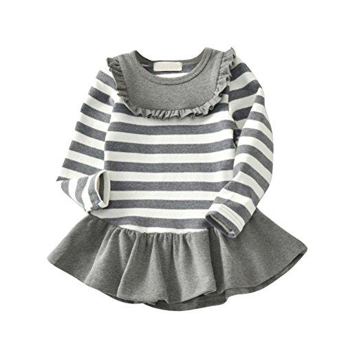 Princess Toddler Long Baby Skirts Grey Party Dresses Sleeve Tutu Girl's Weixinbuy Crewneck Stripe w8Aqt8d
