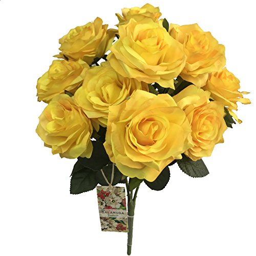 DALAMODA Yellow 2 Bundles (with total 20 heads) Rose Flower Bouquet, for DIY any Decoration Artificial Silk Flower (DL104-Yellow) - Two Yellow Roses