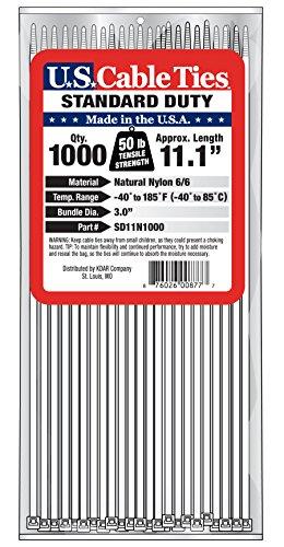 [해외]미국 케이블 타이 SD11N1000 11 인치 표준 의무 케이블 타이, 내추럴, 1000 팩/US Cable Ties SD11N1000 11-Inch Standard Duty Cable Ties, Natural, 10