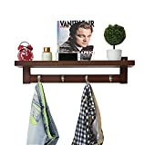 Asunflower Coat Rack Shelf with Hooks, Wall-Mounted Door Hanging Rack - 25'' by 11.8'' by 7''