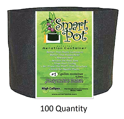Smart Pot Black 1 Gallon - BULK PACK of 100 by Smart Pot