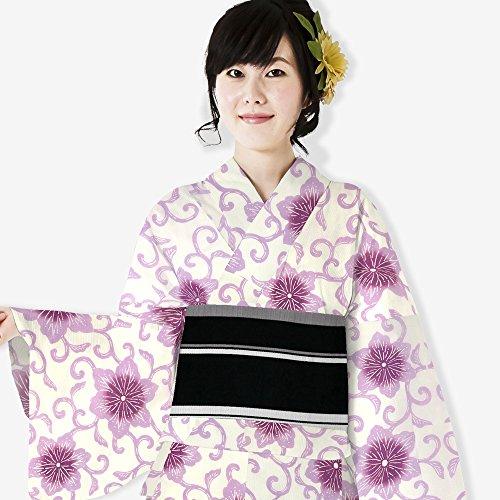 技術的な怒ってペリスコープレディース 浴衣単品 なないろ 綿素材 はんなり かわいい 鉄線 紫系