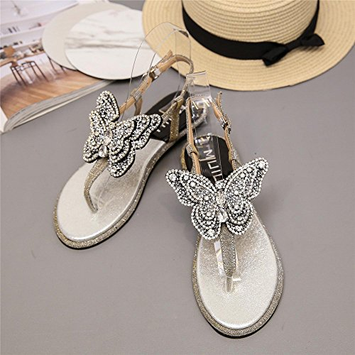 Femmes Sandales Tongs beauty 38 EU White Color Size Dames Décorer Angel Black love Papillon q0ETZZ