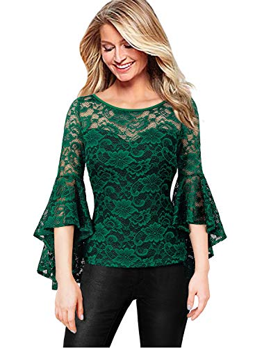 VFSHOW Womens Illusion Sweetheart Neck Green Floral Lace Ruffle Bell Sleeve Fitted Casual Party Blouse Top 2528 GRN 3XL
