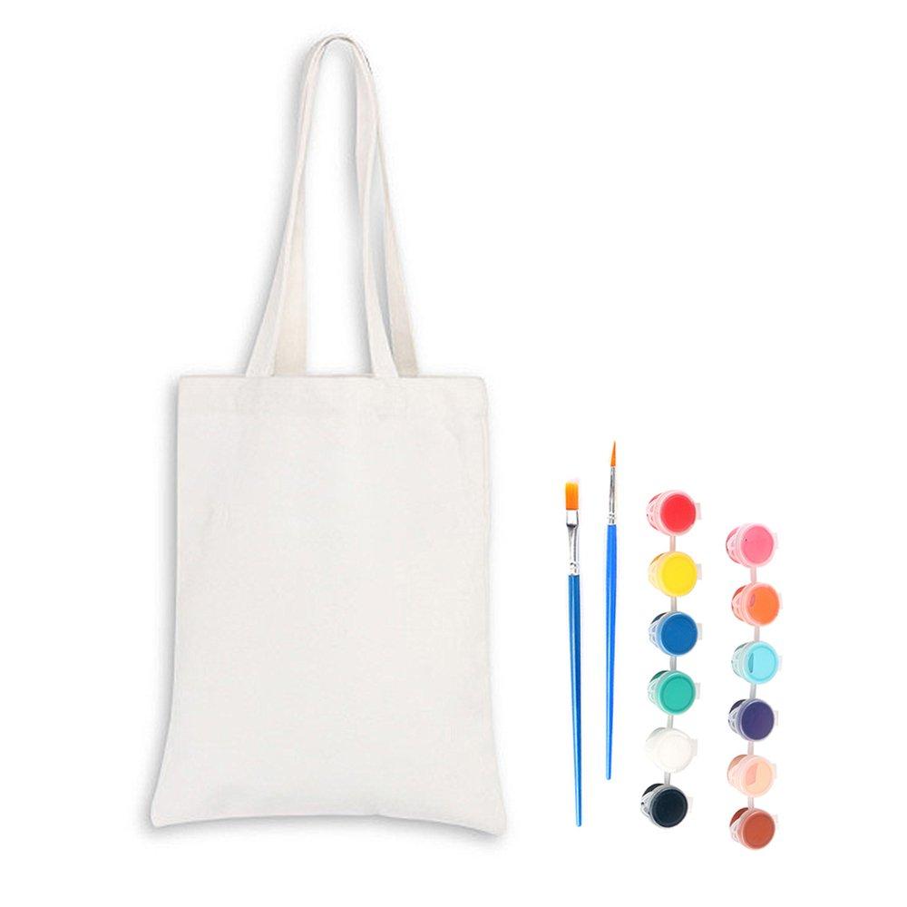 Beetest® Cartoon Canvas Borse Tote Shopping Borsetta + Kid Tessuto Paint + Pittura Pennelli Bambini Ragazzi DIY Disegno Dipingere Set Educativo Giocattoli per Ragazze/Ragazzi