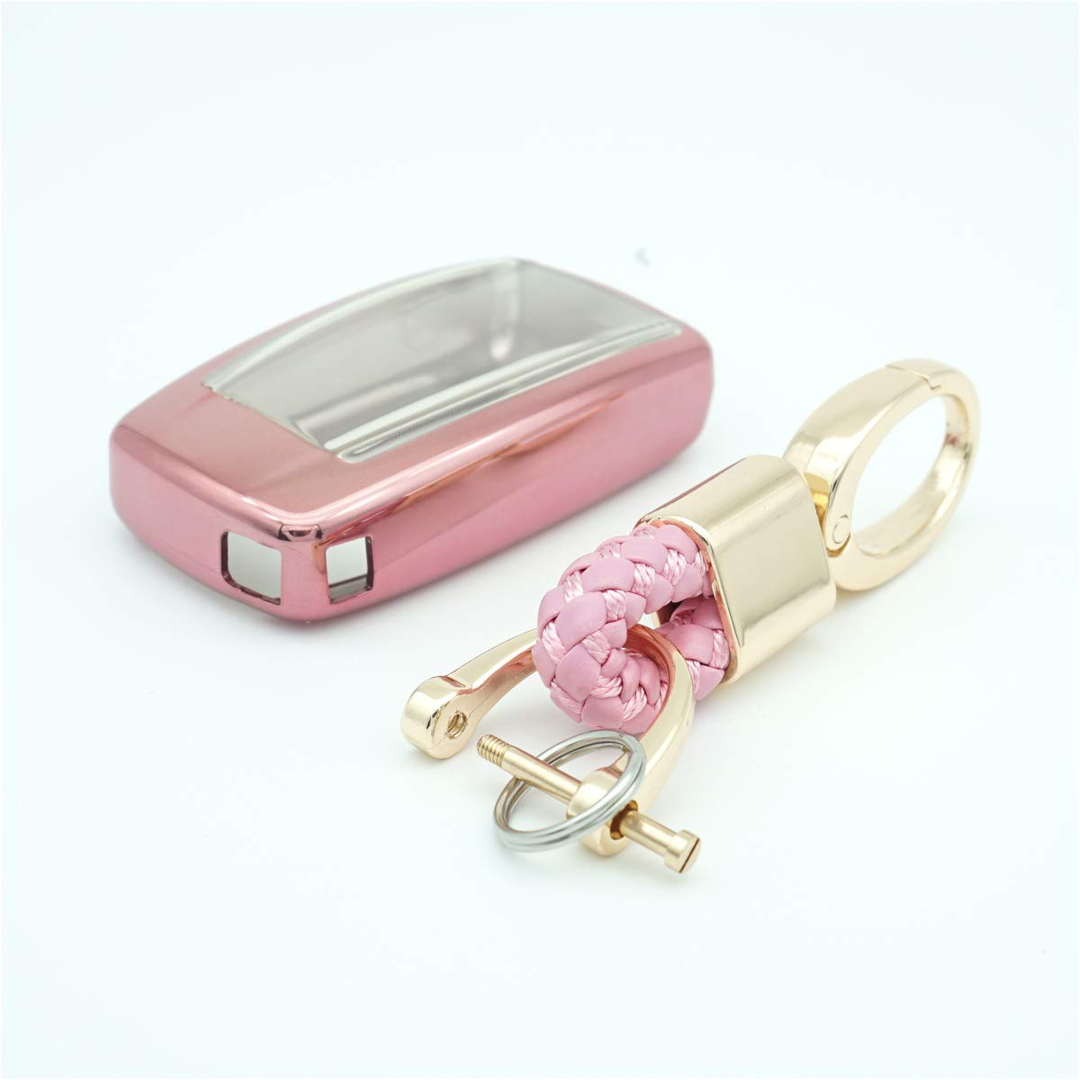 not fit Engine Hold TM 2 3 4 Buttons TPU Smart Remote Key Fob case Cover for Acura RLX RDX MDX ILX TLX PLX NSX,with Key Chain Royalfox Pink with Bling Chain
