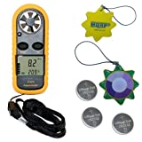 HQRP Mini Weather Station Compact Digital Anemometer Thermometer & Wind Meter w/ 3 Pack CR2032 Battery UV Chain/UV Health Meter