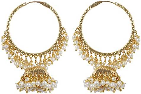 Indian Bollywood Fashion Gold Plated Dangle Style Polki Earring Partywear Jewelry