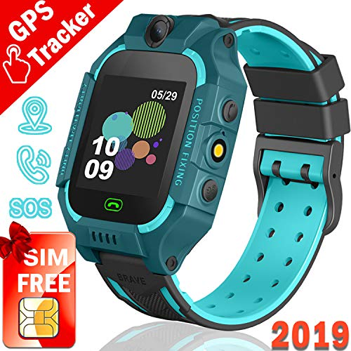Kids GPS Tracker Watch,【SIM Card Edition】Smart Watch Phone for 3-12 Years kids Toddlers Boys Girls, 1.44′ HD Touch Screen Two-Way Call Voice SOS Game Smartwatch, School Supplies for Classroom