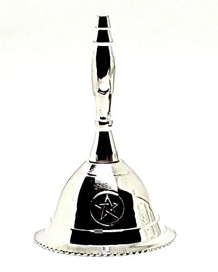Eclectic Shop Uk Timbre pequeño de latón pentáculo chapado en plata con pentagrama de Wicca Pagan