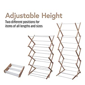 INNOKA 4-Tier Wooden Aluminium Stackable Foldable Clothes Laundry Drying Rack w/ Sturdy Base for Indoor/Outdoor - Home Essentials in Smart Adjustable Design, Perfect For Living Room, Balcony, Basement
