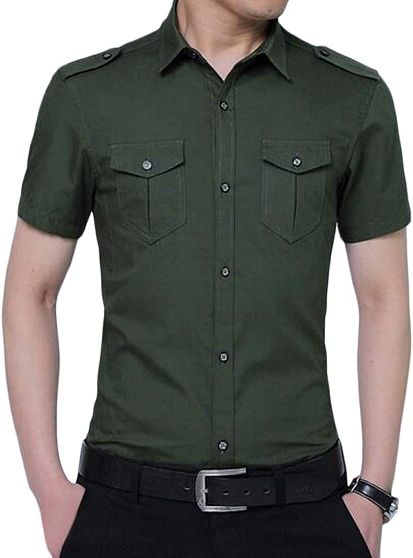 Domple Mens Button Up Solid Color Cotton Military Slim Fit Short Sleeve Cargo Work Shirts