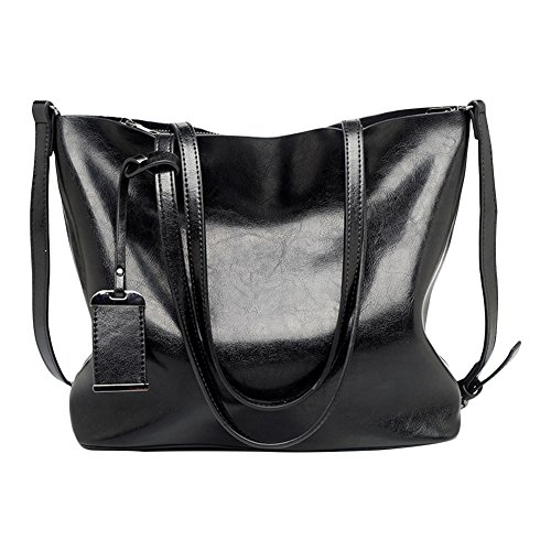 Ladies Leather Tote Purses Handbags Top Handle Bag Hobo Shoulder Crossbody Bags Black