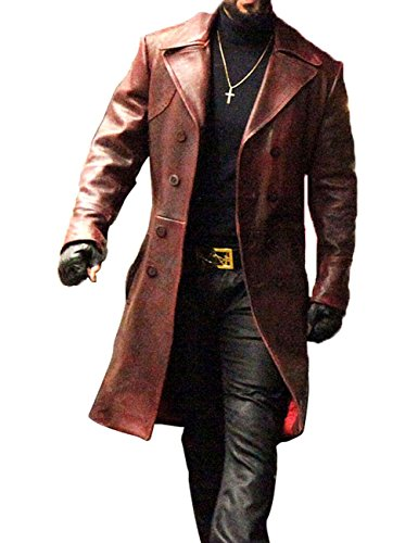 Will Smith Deadshot Suicide Squad Long Maroon Leather Coat XS