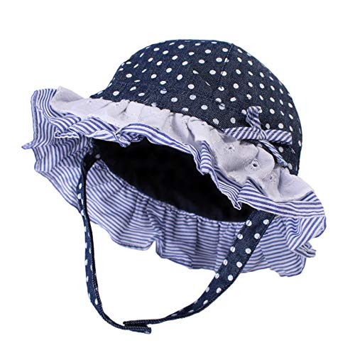 UPF Sun Hat for Baby Girls Adjustable Toddler Kids Sun Protection Hat Wide Brim Summer Play Hat with Chin Strap (Navy -dot, S: 6M-12M (48cm /18.9